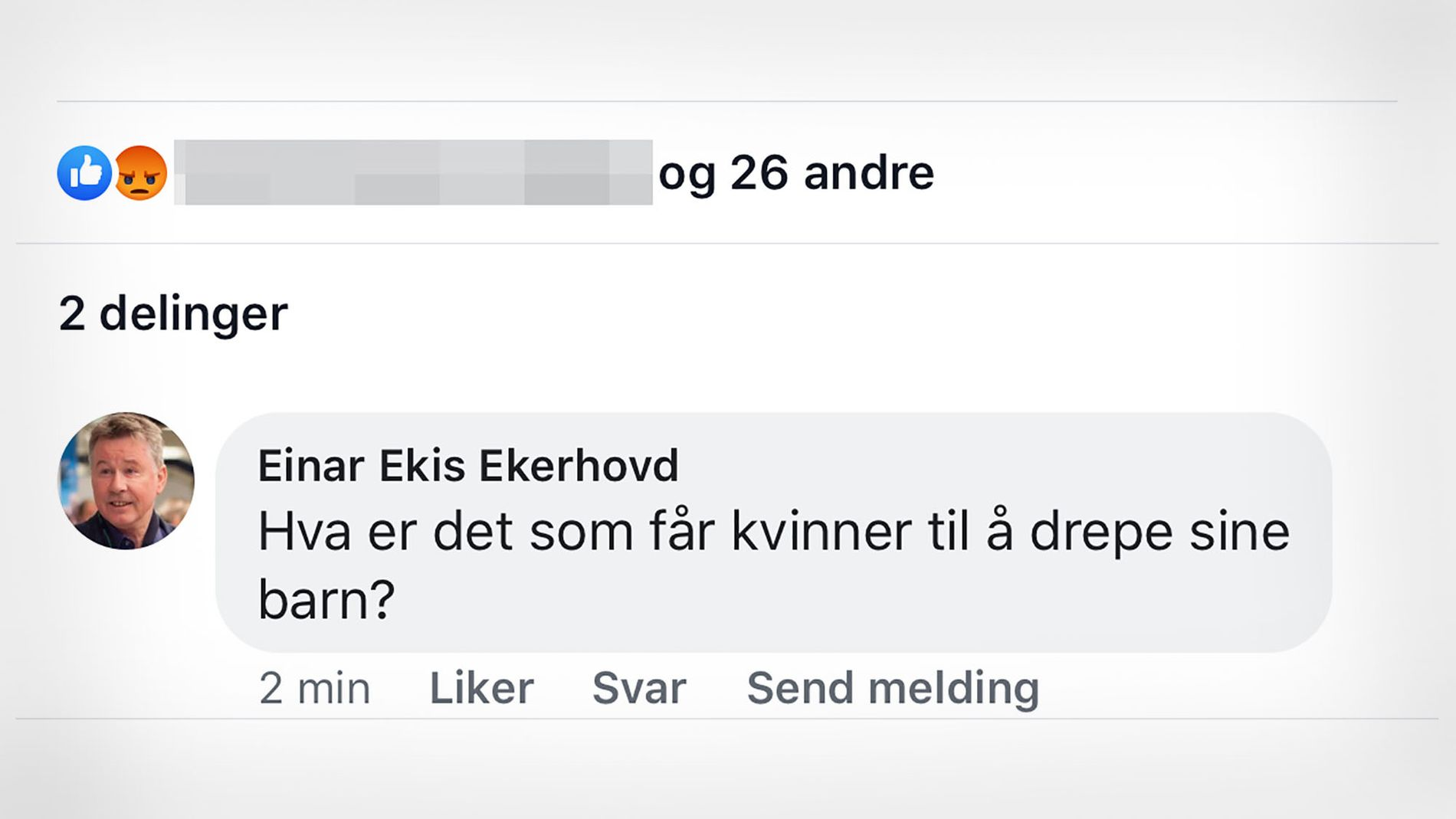 ABORTMOTSTAND: Innsenderen reagerer kraftig på denne kommentaren fra Einar Ekis Ekerhovd, sokneprest i Fusa. FAKSIMILE: BERGEN KVINNESAKSFORENINGS FACEBOOK-SIDE
