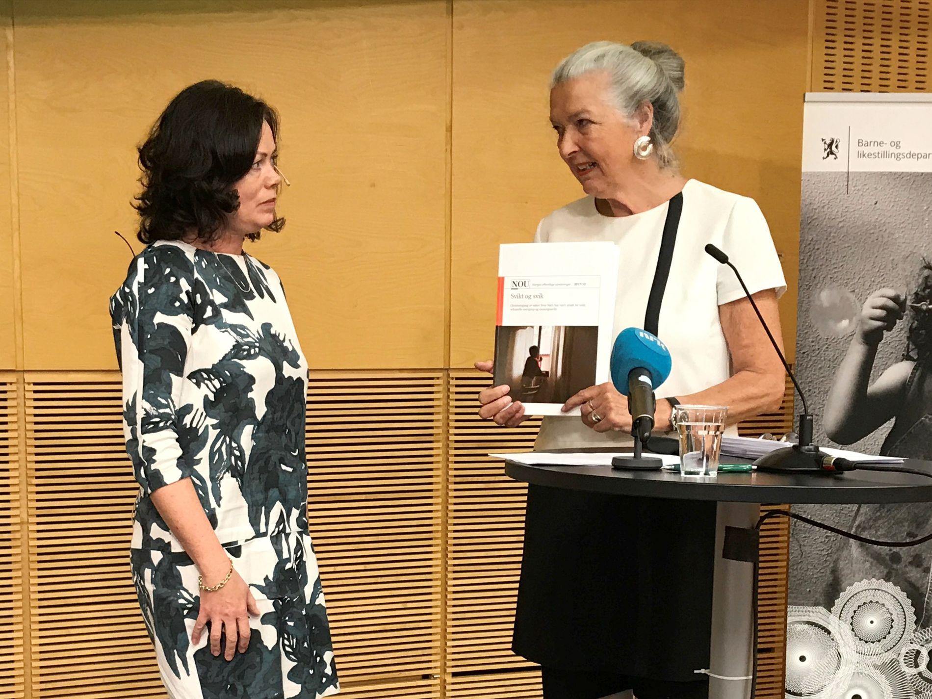 RAPPORT: Barne- og likestillingsminister Solveig Horne (FrP) fikk torsdag 22. juni overlevert NOU-rapporten «Svikt og svik» av barnevoldsutvalget. De har gjennomgått alvorlige saker der barn og ungdom har blitt utsatt for vold, seksuelle overgrep og omsorgssvikt.
