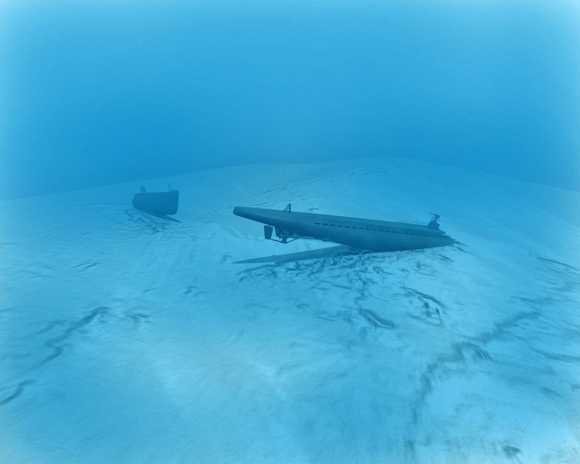 SENKA: Ubåten U-864 var blant anna lasta med 64 tonn kvikksølv da den blei senka utanfor Fedje under Andre verdskrigen. Illustrasjon:  Fred Ivar Utsi Klemetsen (arkiv)