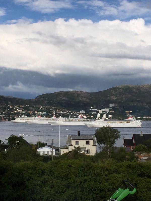 HISTORISK: Aldri tidligere har flåten til Fred. Olsen Cruise Lines vært samlet.