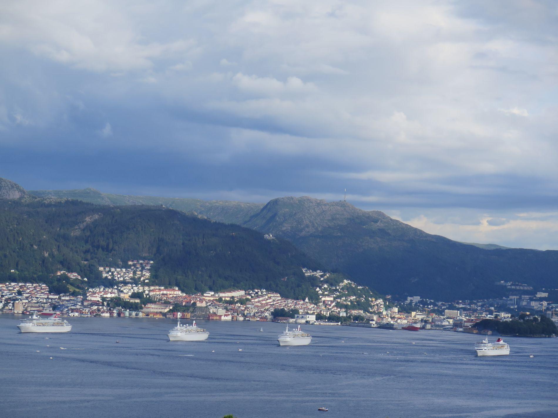 BEGEISTREDE: Det var mange fornøyde skuelystne til de fire cruiseskipene til Fred. Olsen Cruise Lines, da de koordinert og ved siden av hverandre, seilte ut fjorden tirsdag kveld.