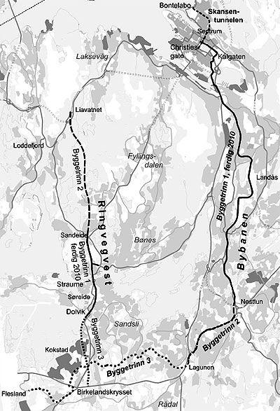 Kartskisse for byggetrinn på Bybanen og Ringvei vest.