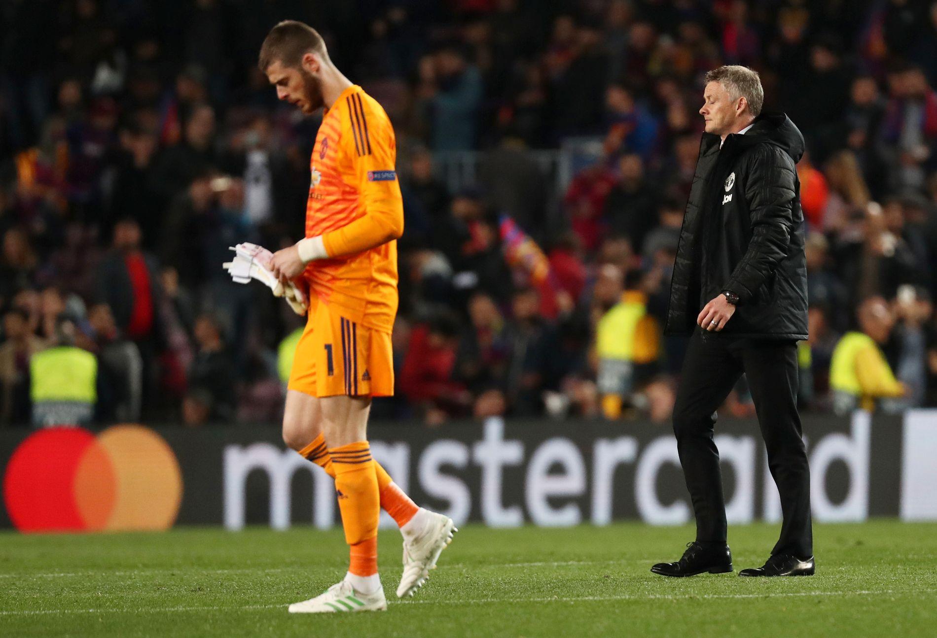 Solskjær og David De Gea fikk en tung kveld på Camp Nou tirsdag.