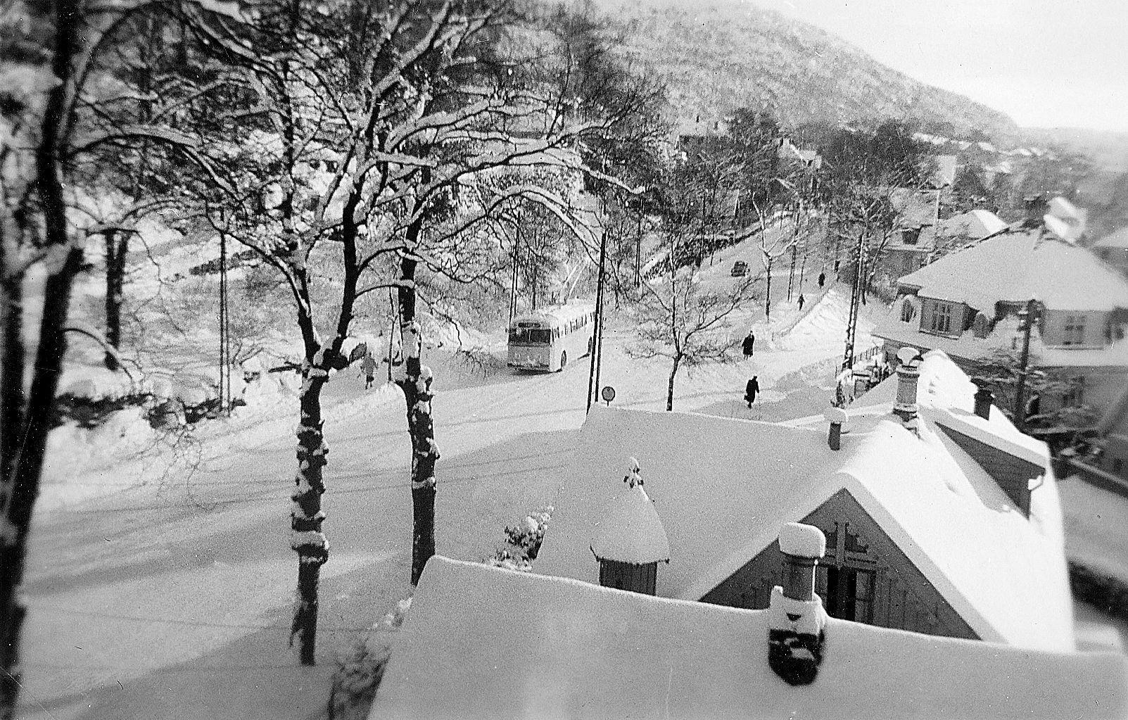 IDYLL: Vinterstemning i Haukelandsveien i 1958.