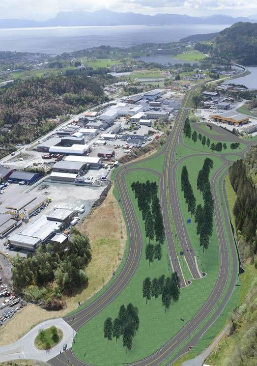 PÅHOGG: Slik ser Vegvesenet for seg at den nye E39 mot Bergen blir knyttet til eksisterende E39 ved Moberg og Svegatjørn i Os.