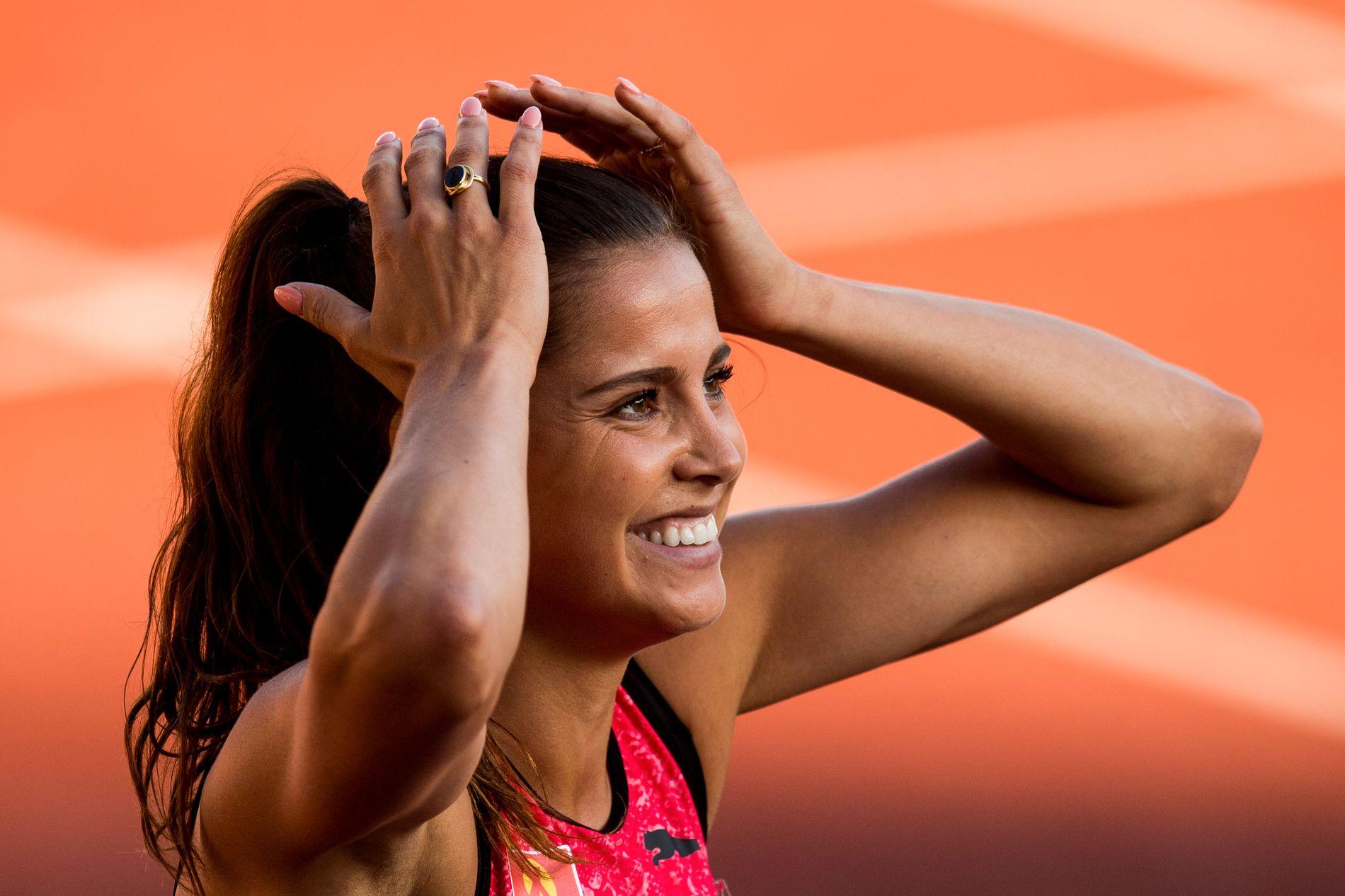 Amalie Iuel løp 400 meter hekk på 55,26 sekunder på Bislett Games i fjor. Det var personlig rekord.