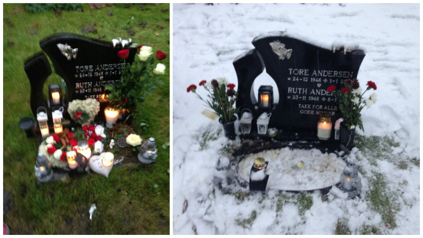 FØR OG ETTER: På julaften - fødselsdagen til Tore Andersen - var graven pyntet etter alle kunstens regler (til venstre). Tre dager senere var det meste. - Vi måtte kjøpe noen nye blomster før det andre bildet ble tatt, sier Hilde Samuelsen Andersen.