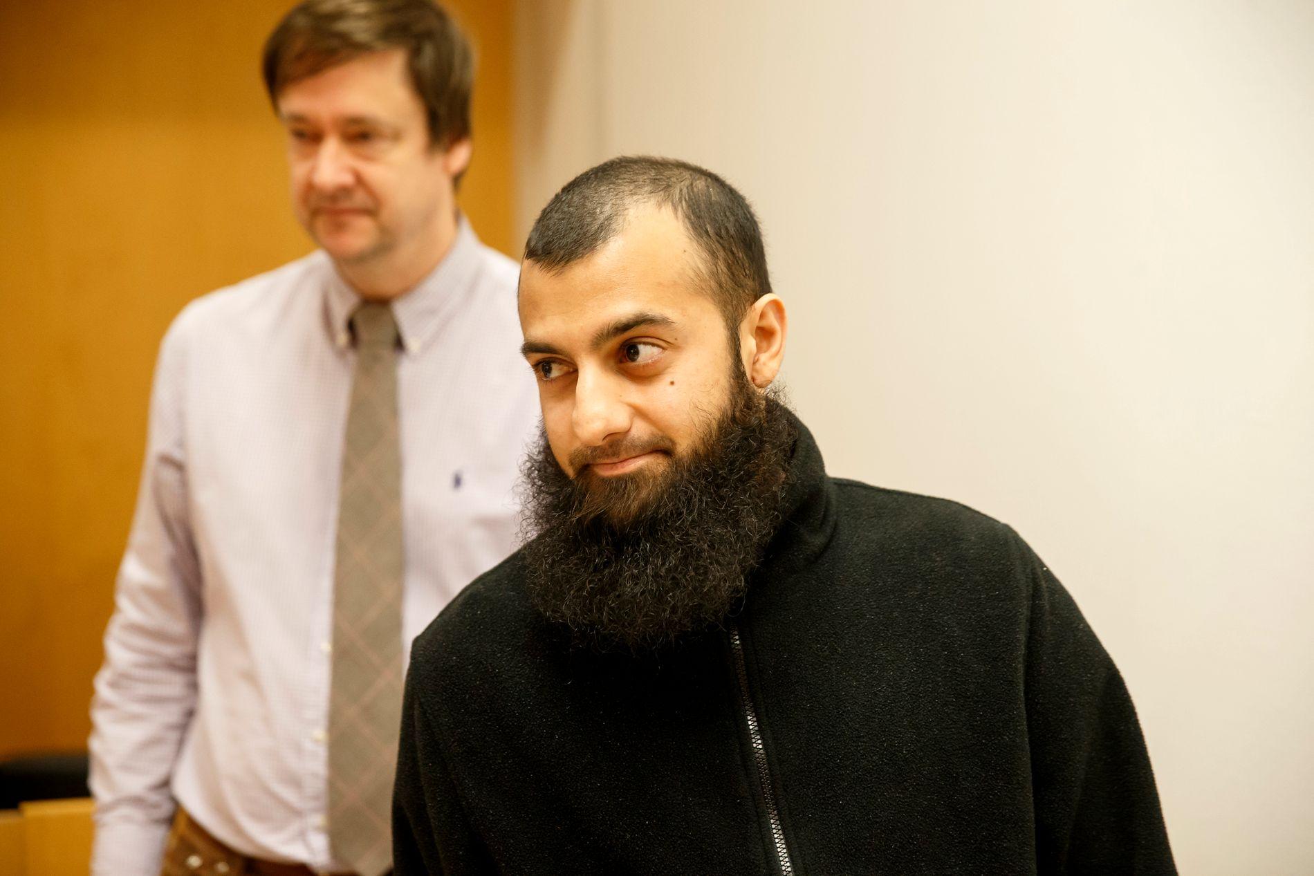 Ubaydullah Hussain under et rettsmøte i 2016. Høyesterett opprettholder dommen på ni års fengsel fra lagmannsretten. Foto: Cornelius Poppe / NTB scanpix