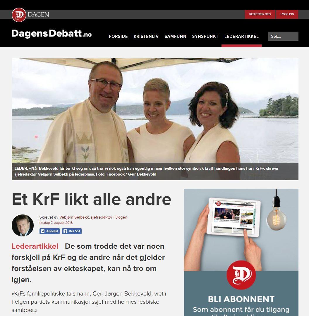 OMSTRIDT: Da KrFs Geir Jørgen Bekkevold viet et likekjønnet par, skapte det debatt i kristenkretser, som her i avisen Dagen. Faksimile: Dagen.no