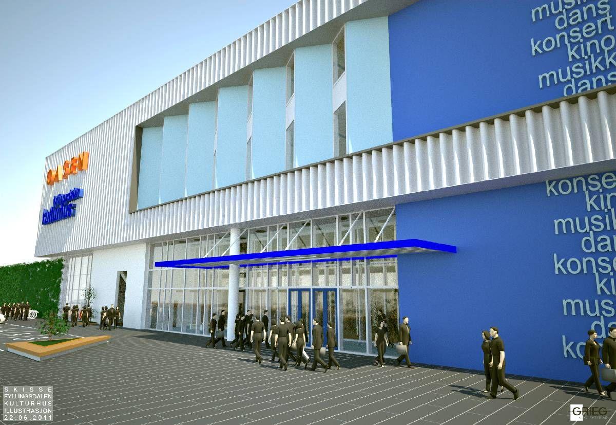 KULTURHUSET: Slik vil kulturhuset se ut dersom det blir en del av tilbygget til kjøpesenteret Oasen i Fyllingsdalen.