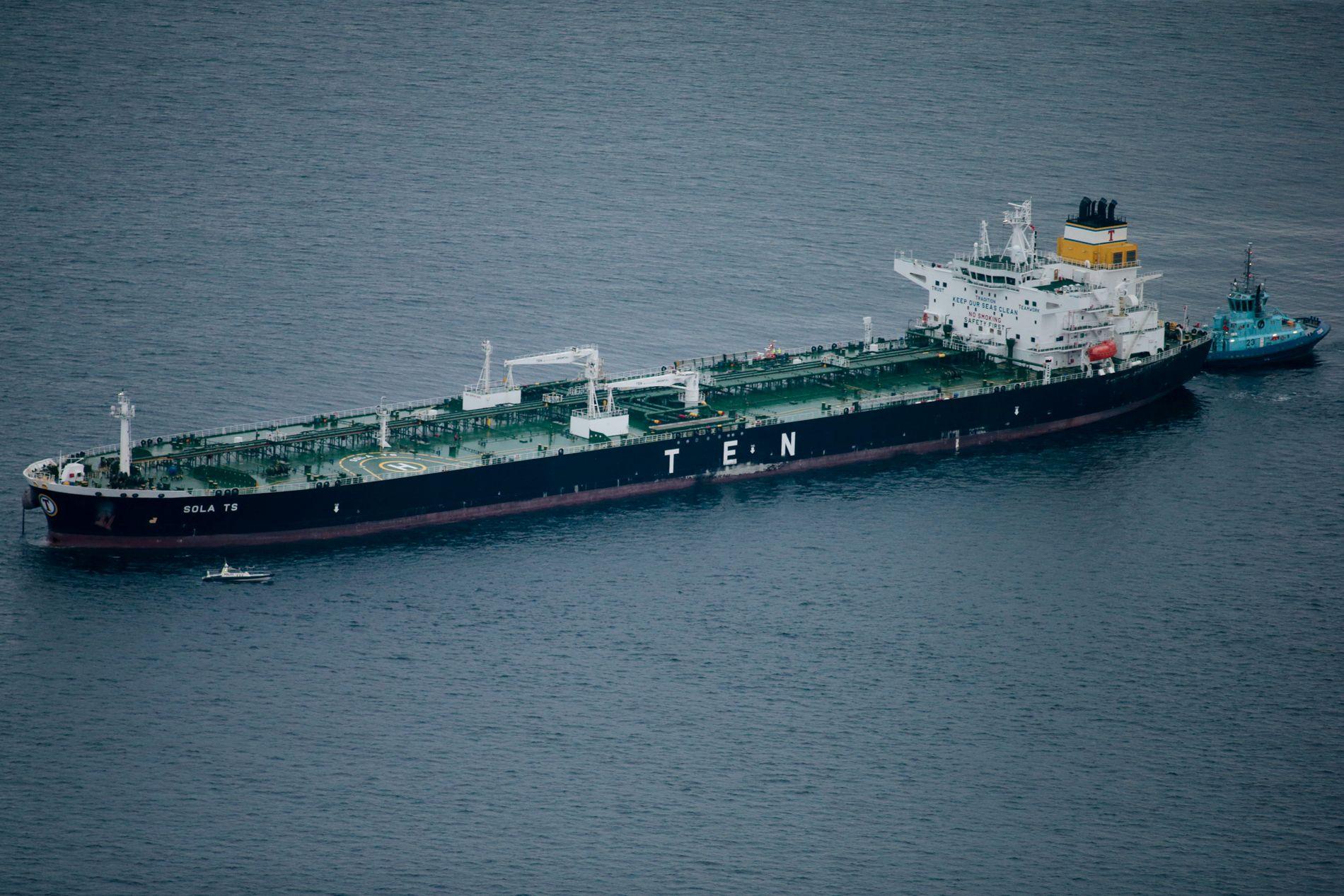 MYE SIG: – Et slikt fartøy er ikke særlig lett å manøvrere, sier losdirektør Erik Blom om det 250 meter lange tankskipet som var fullastet med olje da det kolliderte.