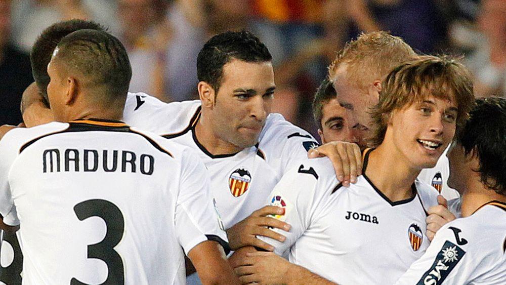 Valencia-spillerne jubler for ny seier i Spania.