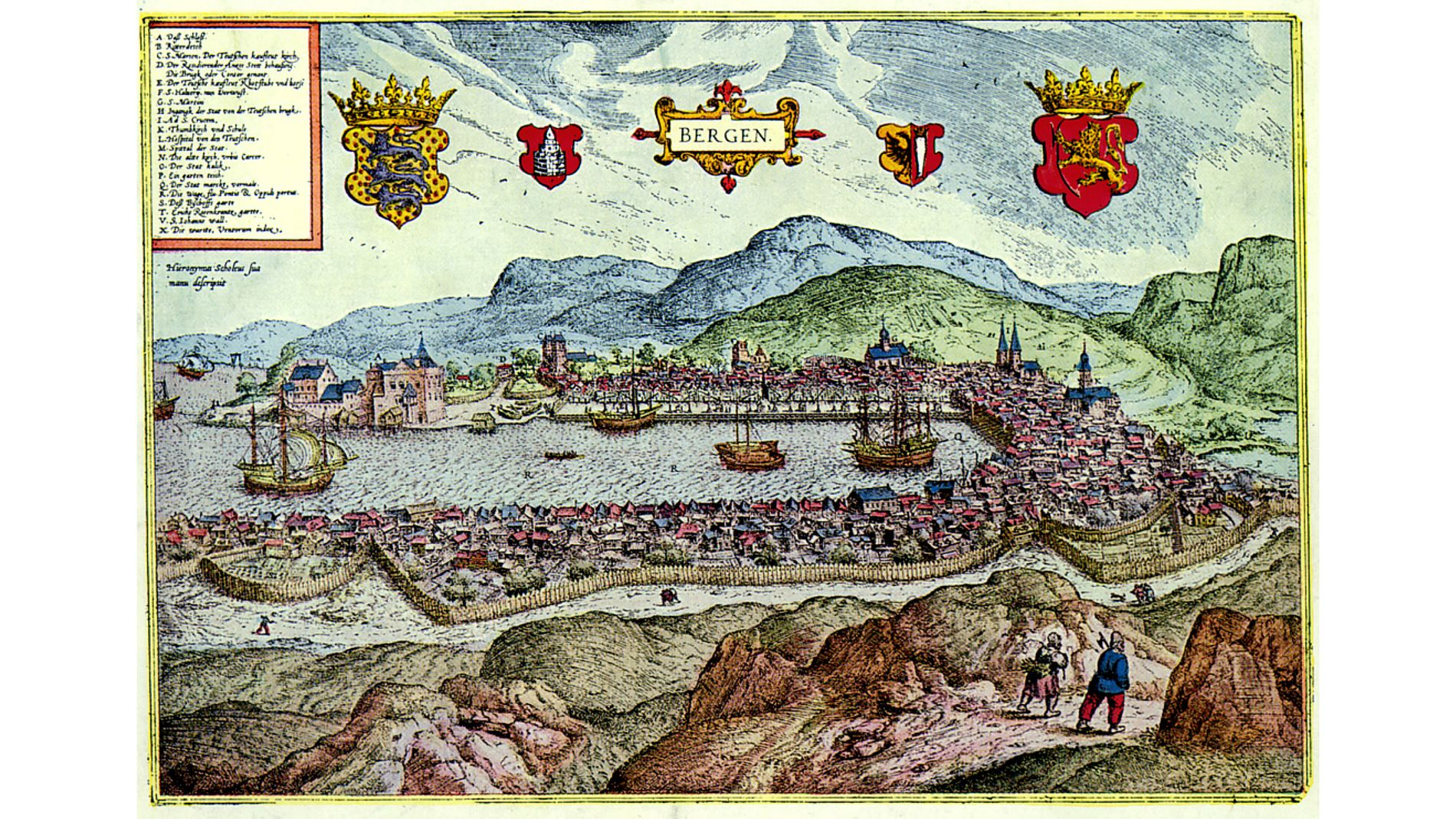 VÅR FORTID: Det ville neppe ha gått deg vel hvis du reiste tilbake i tid og fortalte om overbevisningene dine, mener innsenderen. Illustrasjon: Scholeus-stikket, Bergen i år 1580.