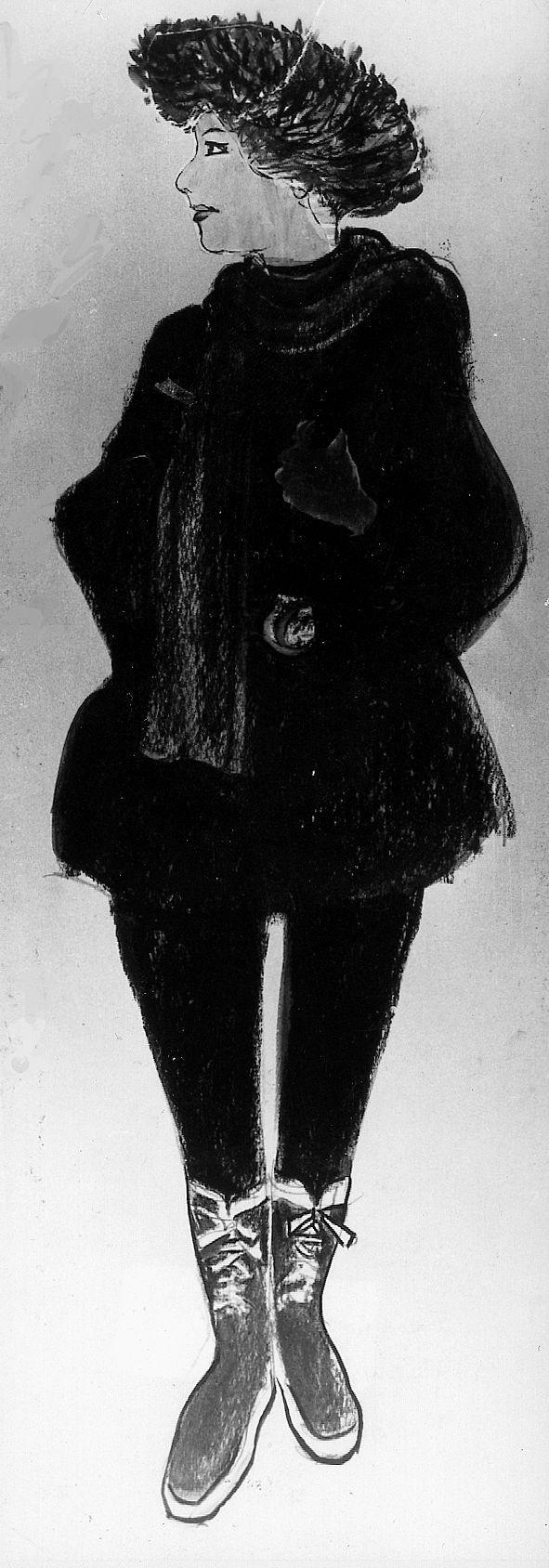 1. MYSTISK: Slik mener Audun Hetland at Isdalskvinnen så ut da hun bodde på Hotell Hordaheimen i Bergen. TEGNING: AUDUN HETLAND (ARKIV)