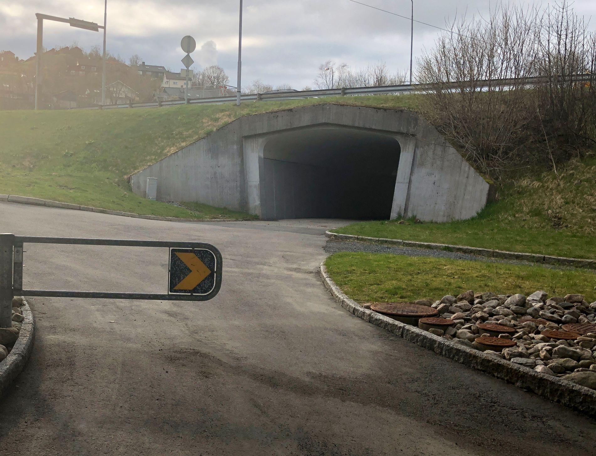 BILDE 4: Mørk og uoversiktlig undergang ved Harevegen. Med Byrådets forslag til sykkelstamveg blir dette hovedforbindelsen til Nordås. I et VEST-alternativ blir det ikke nødvendig å benytte denne undergangen, skriver innsenderen.