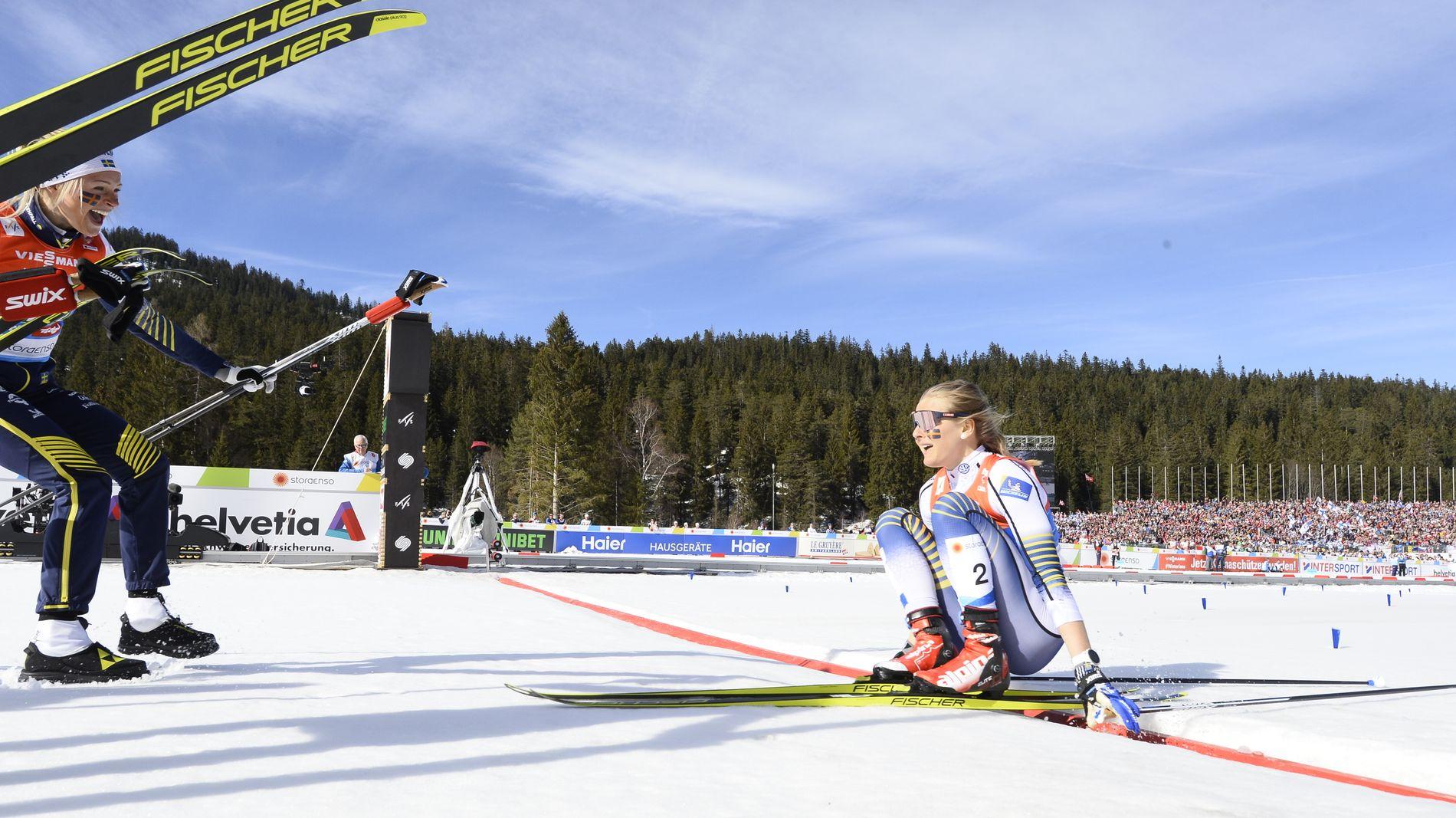 Heldigvis teller ikke stilkarakterene. Fullstendig utmattet ramlet Stina Nilsson over målstreken.