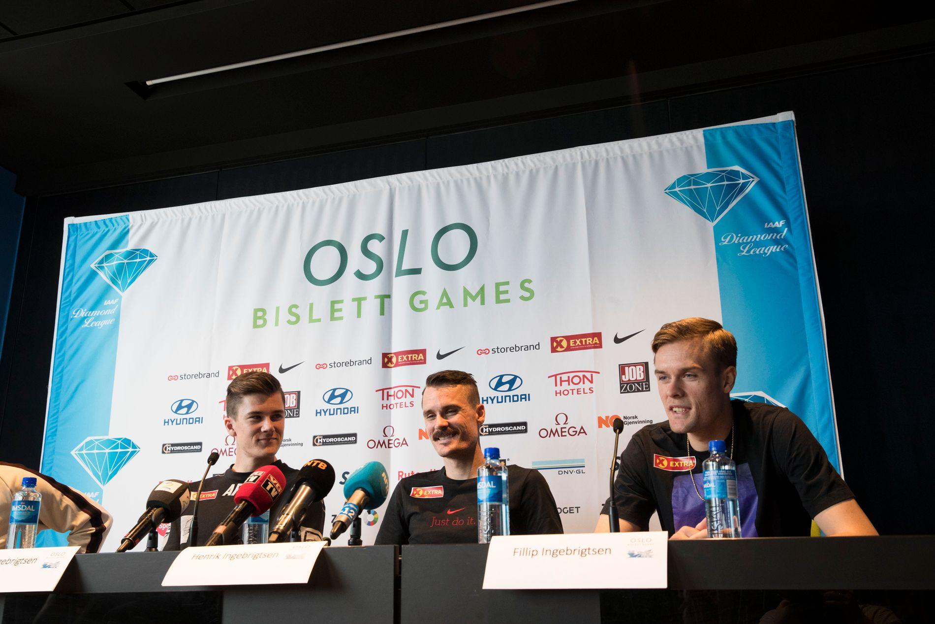 Team Ingebrigtsen med Jakob Ingebrigtsen, Henrik Ingebrigtsen og Filip Ingebrigtsen på tirsdagens pressekonferanse før Bislett Games.