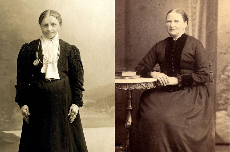 TO MADAMMER: «Skal være den riktige Madam Felle» står det bak på postkortet til venstre. Biletet er truleg av Rannvei Felle (1790–1867). Bak på det andre biletet er det skrive «Madam Felle som hadde ølutskjenkning i Sandviken. Død omkring hundreårsskiftet». Etter alt å døma er kvinna Oline Felle (1831–1908).