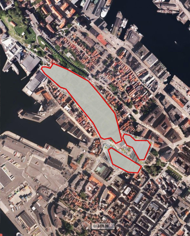 NØSTET: Slik ville det se ut på Nøstet og Nordnes hvis den foreslåtte byarenaen ble plassert der. Den ville dekket all trehusbebyggelse mellom Verftet og DNS, eller 450 bygninger, ifølge skribentene.