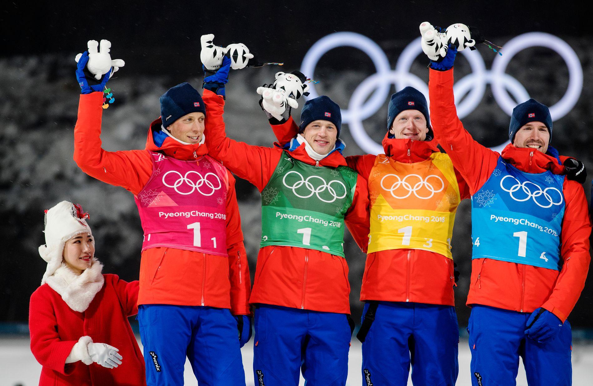 SØLVGUTTER: Lars Helge Birkeland, Tarjei Bø, Johannes Thingnes Bø og Emil Hegle Svendsen tok sølv på stafetten i Pyeongchang.