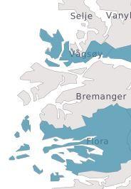 DELES I TO: Vågsøy og Flora blir én kommune, men ikke Bremanger, som ligger i mellom dem.