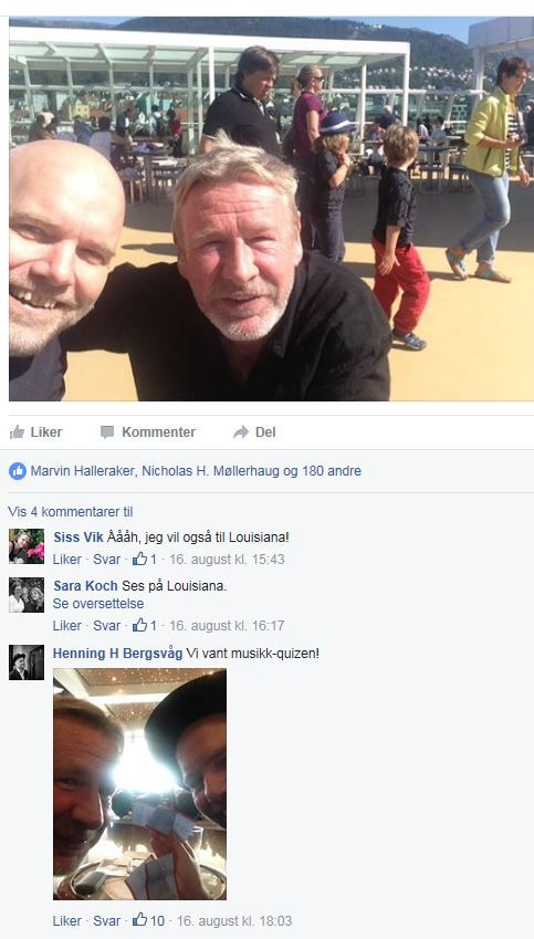 FORFATTERVENNER: Poet Henning Bergsvåg og forfatter Tomas Espedal på litteraturfestival sammen. FOTO: SKJERMDUMP, FACEBOOK