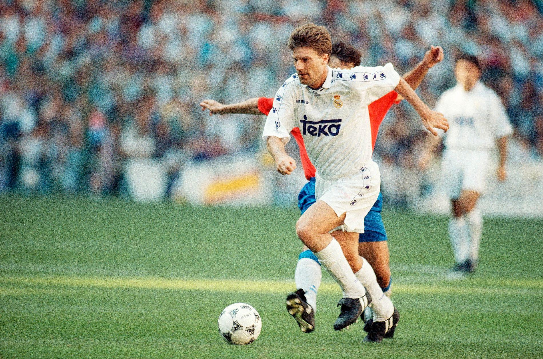 Sa nei: Danske Michael Laudrup, her i Real Madrid-drakt, er en av få verdensstjerner som har sagt nei til spill i EM eller VM. Han var ikke med i EM i 1992 og ble dermed heller ikke europamester.