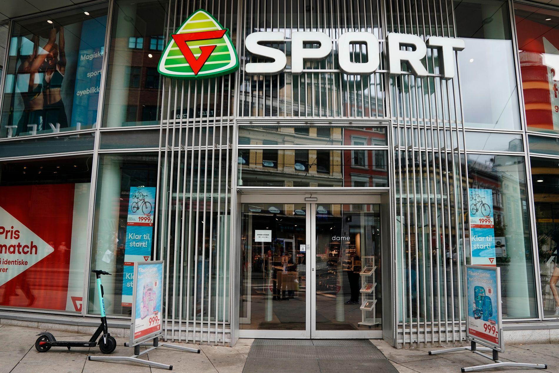 G-sport i Storgata i Oslo skal avvikles sammen med resten av sportsbutikkene G-sport og G-Max. Butikkene flyttes over til Intersport-kjeden. Foto: Cornelius Poppe / NTB scanpix