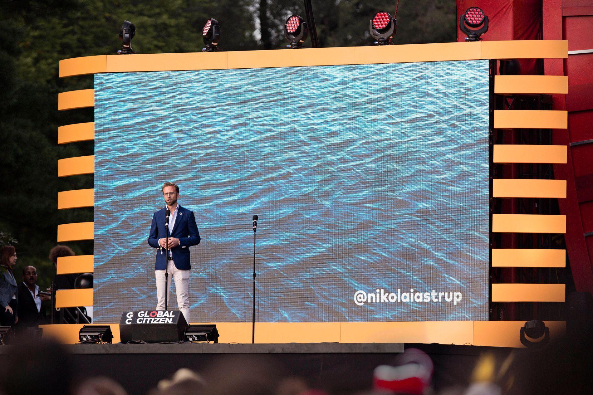 CENTRAL PARK: Utviklingsminister Nikolai Astrup (H) lova 1,6 milliardar kroner til kampen mot plast i havet, då han talte på Global Citizen-festivalen i New York i førre veke.