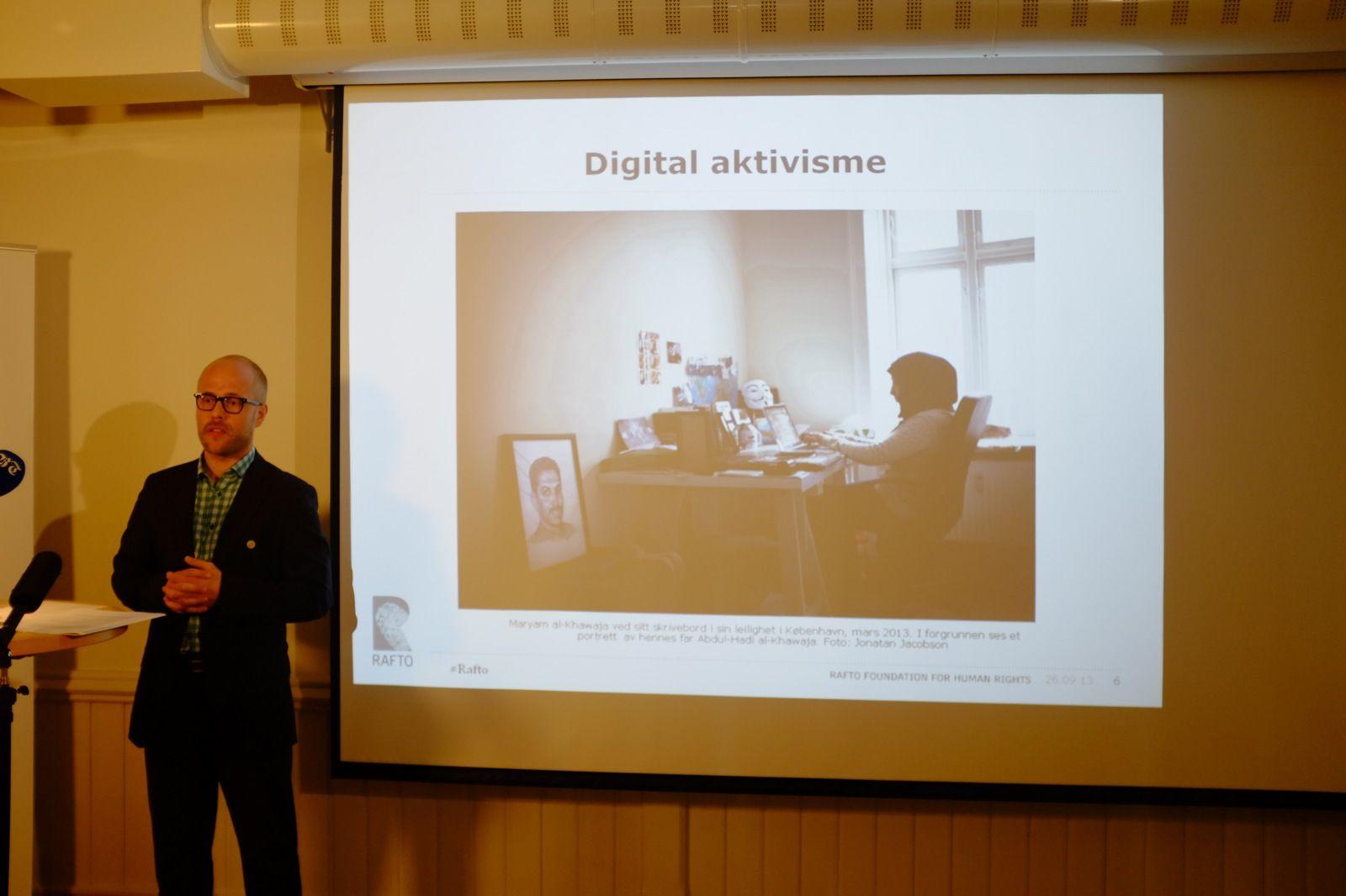 KUNNGJORDE: - Raftoprisen 2013 tildeles Bahrain Centre for Human Rights for deres langvarige og modige arbeid for fundamentale menneskerettigheter som ytringsfrihet og forsamlingsfrihet i Bahrain, sa Martin Paulsen, leder for priskomiteen.