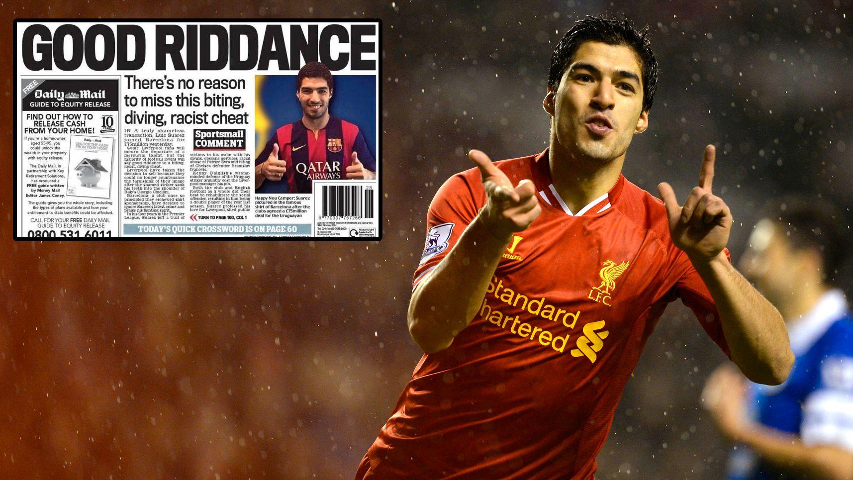 Slik sier Daily Mail adjø til Luis Suárez. Her er jubler 27-åringen etter en scoring i Liverpool-drakten.