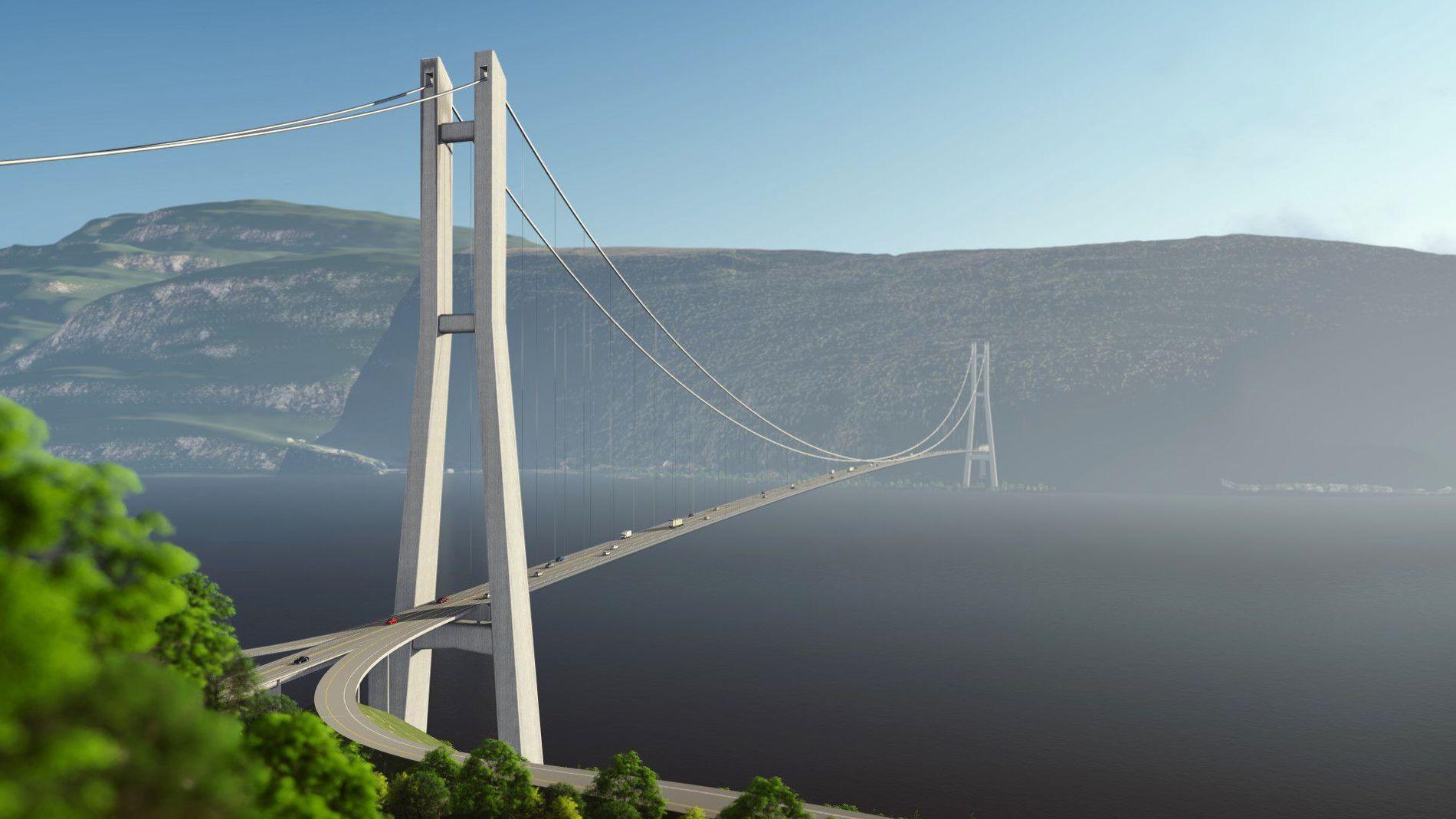INDRE TRASÉ:  I forrige uke sendte Statens vegvesen ut kommunedelplanen for E39 Byrkjelo-Grodås ut på høring. Lengden på den nye veien er 38 km. Av dette vil 1800 meter være en hengebro over Nordfjorden. Det er 400 meter lengre enn Hardangerbrua.