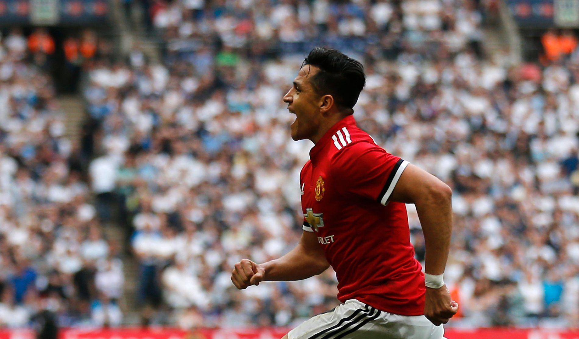 KLARE FOR FINALE: Alexis Sánchez scoret Manchester Uniteds første mål på Wembley lørdag.