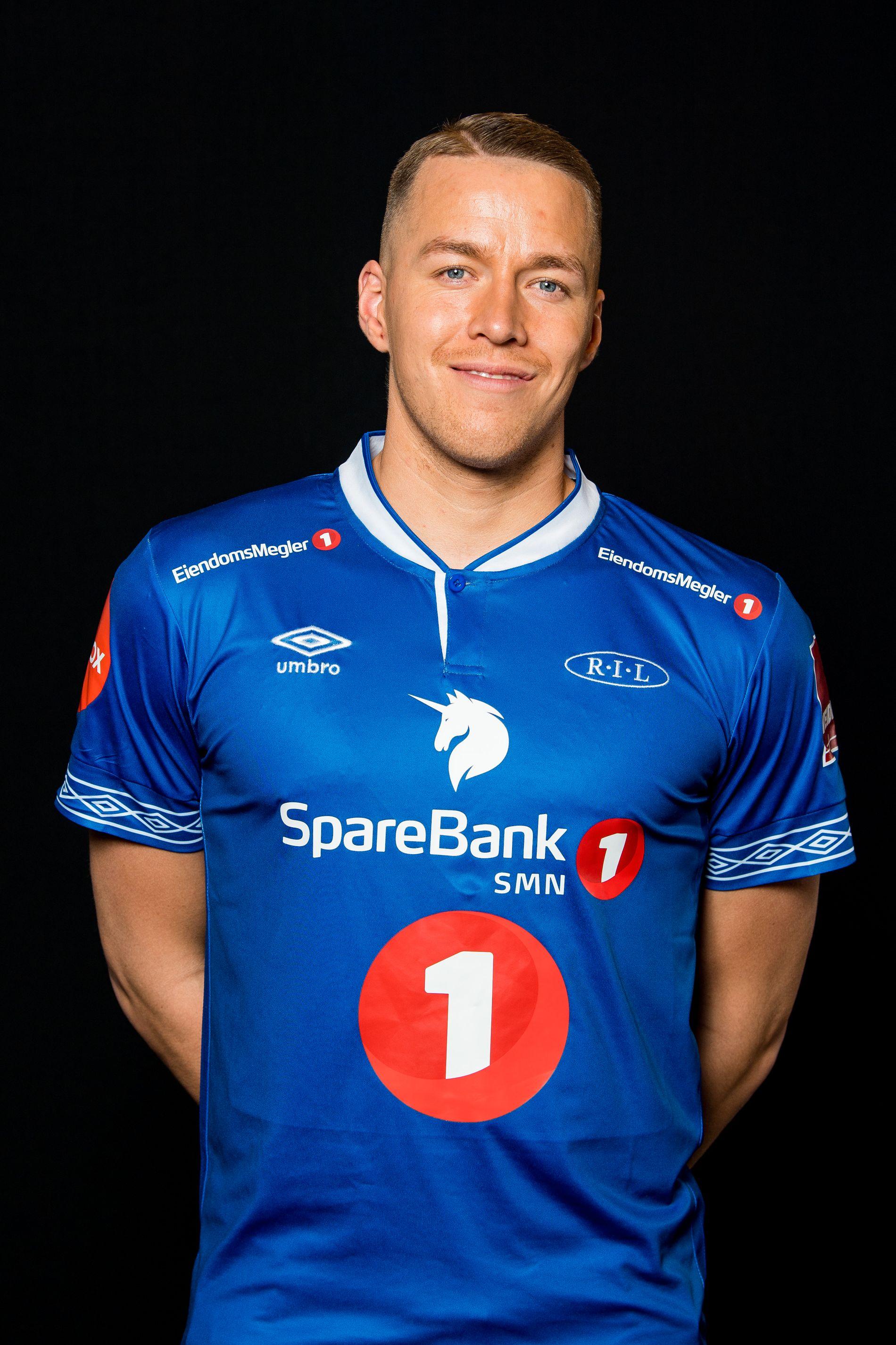 Ranheim-spissen Michael Karlsen poserer i Ranheims drakt for 2019-sesongen.