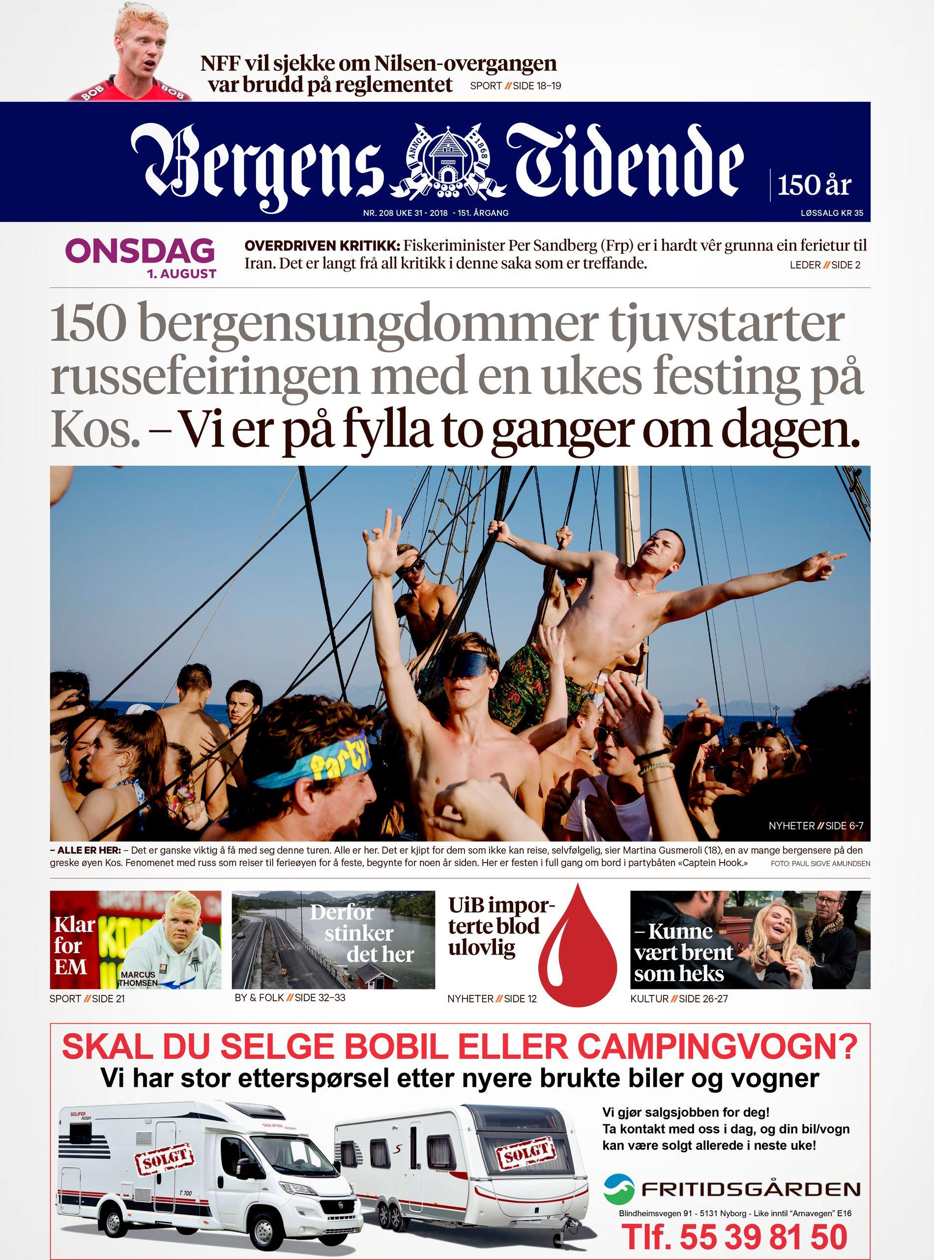HEFTIG FESTING: Russefestene i Hellas har vært seinsommerens største mediesak, ifølge innsenderen. Her er BT fra 1. august.