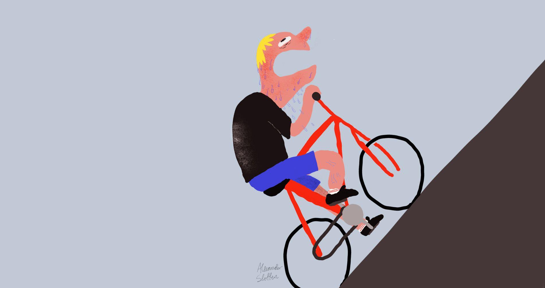 TUNGT: Syklister og folk med barnevogn bør hjelpes opp Haukelandsbakken, mener innsenderen. Illustrasjon: Alexander Slotten