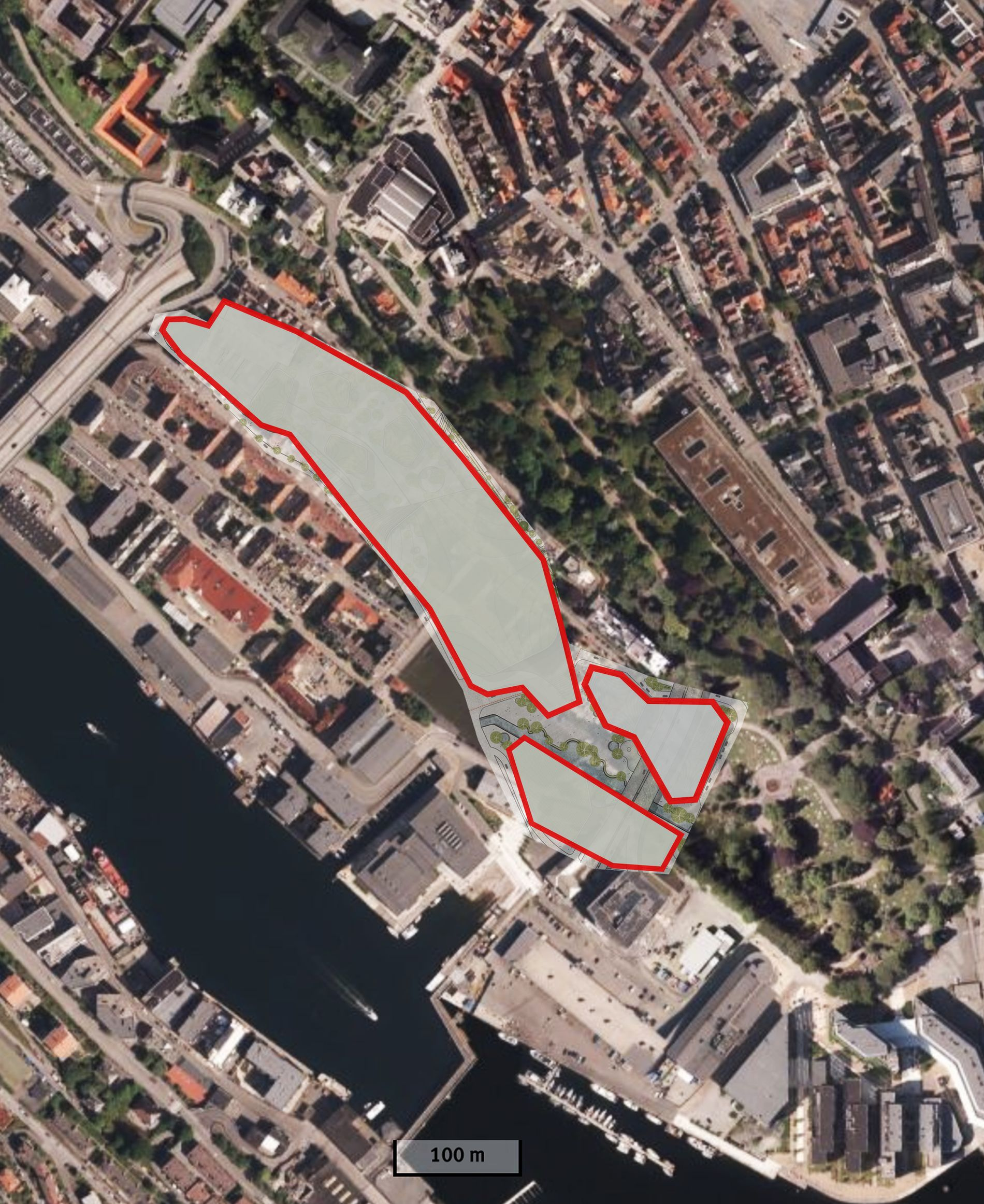 MØHLENPRIS: Slik ville det se ut på Møhlenpris hvis den foreslåtte byarenaen ble plassert der, ifølge skribentene. I dag er det ca 130 bygninger på samme areal.