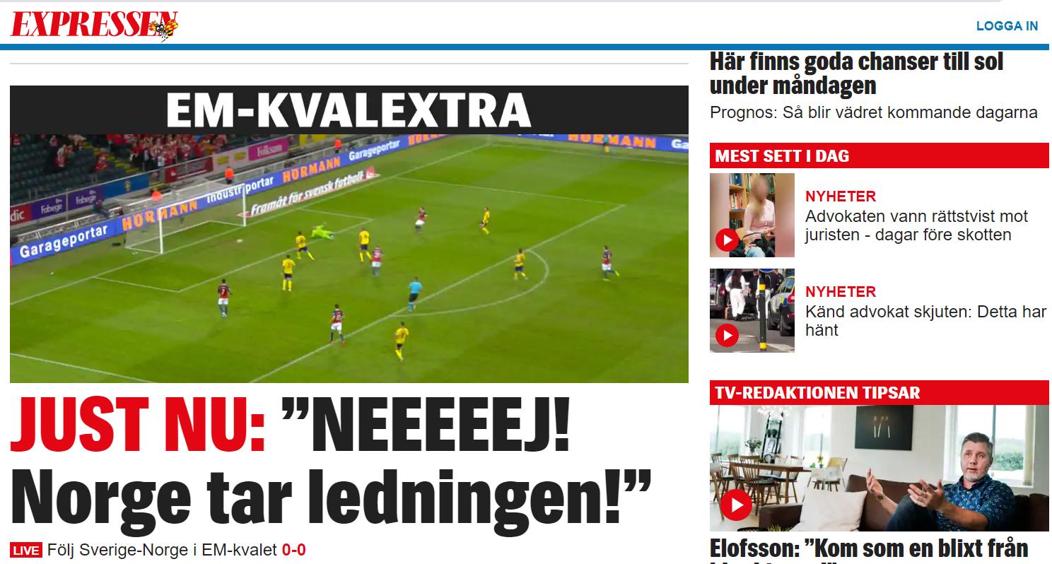 Slik så forsiden til Expressen ut etter Norges 1–0-scoring.