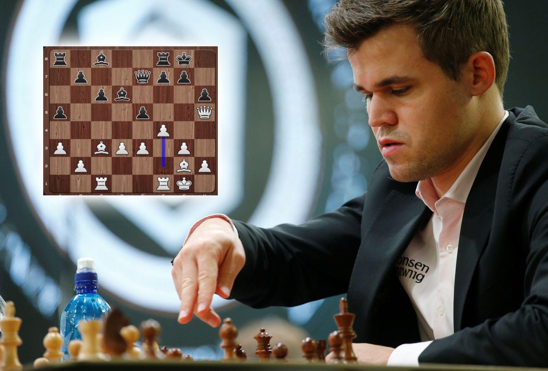 Magnus Carlsen, her under et tidligere mesterskap. Søndagens trekk (innfelt) mottar hyllest.