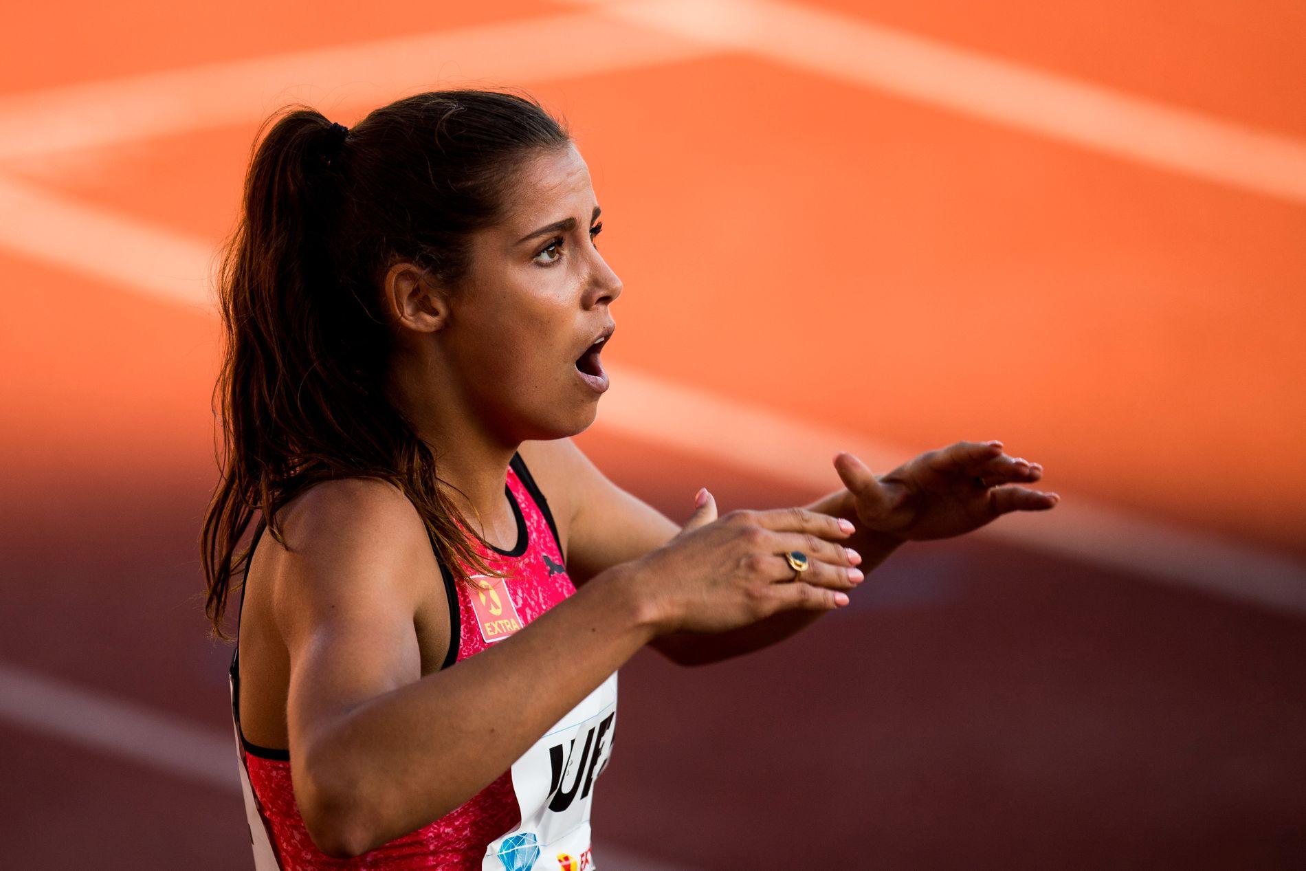 Amalie Iuel var strålende fornøyd med å sette personlig rekord på Bislett Games i fjor.