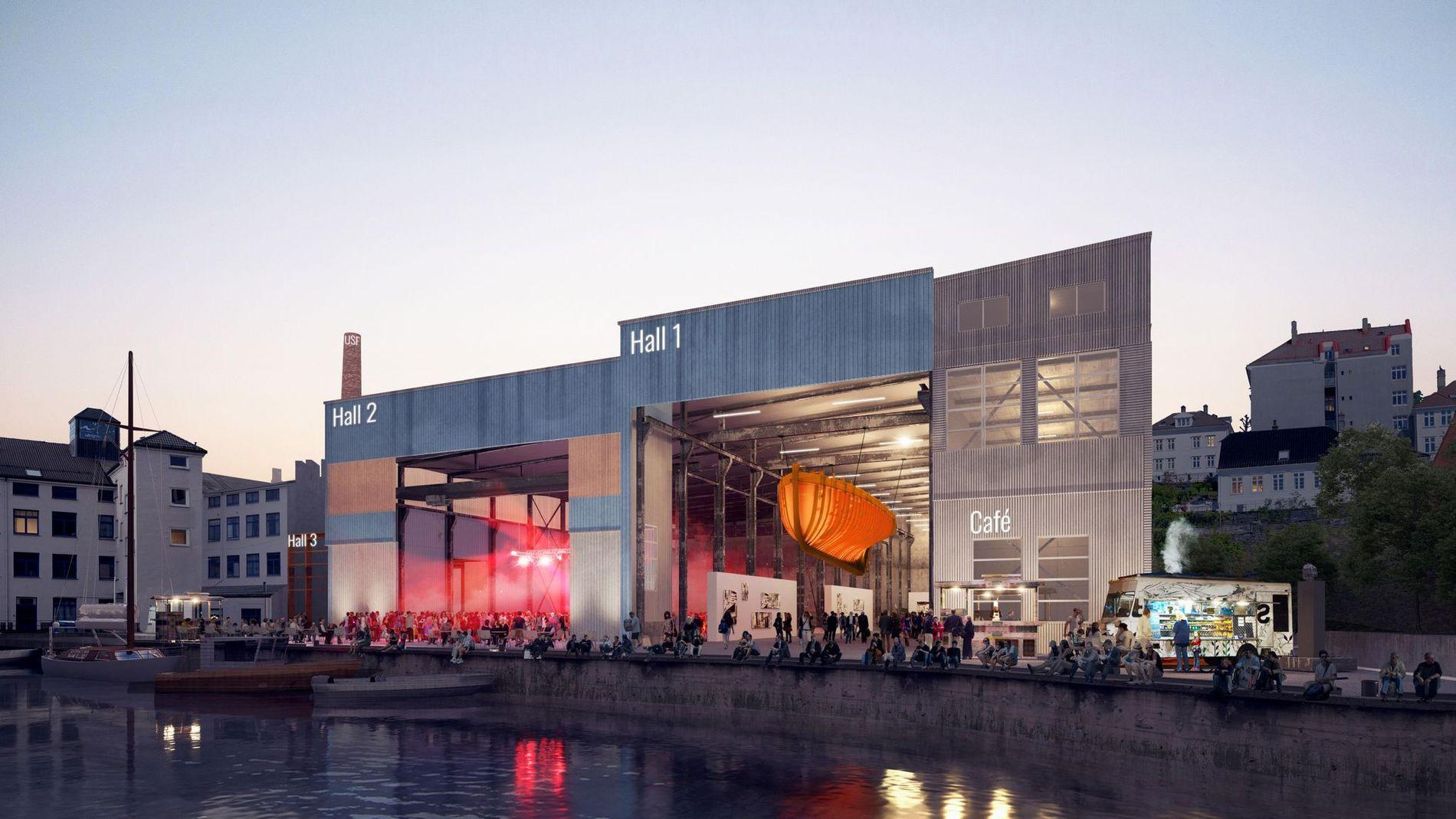 DRØMMEN: Aktørene ved Verftet USF har lenge ønsket seg et fleksibelt musikkteater i nabobygget Kjødehallen. ILLUSTRASJON:  3RW ARKITEKTER
