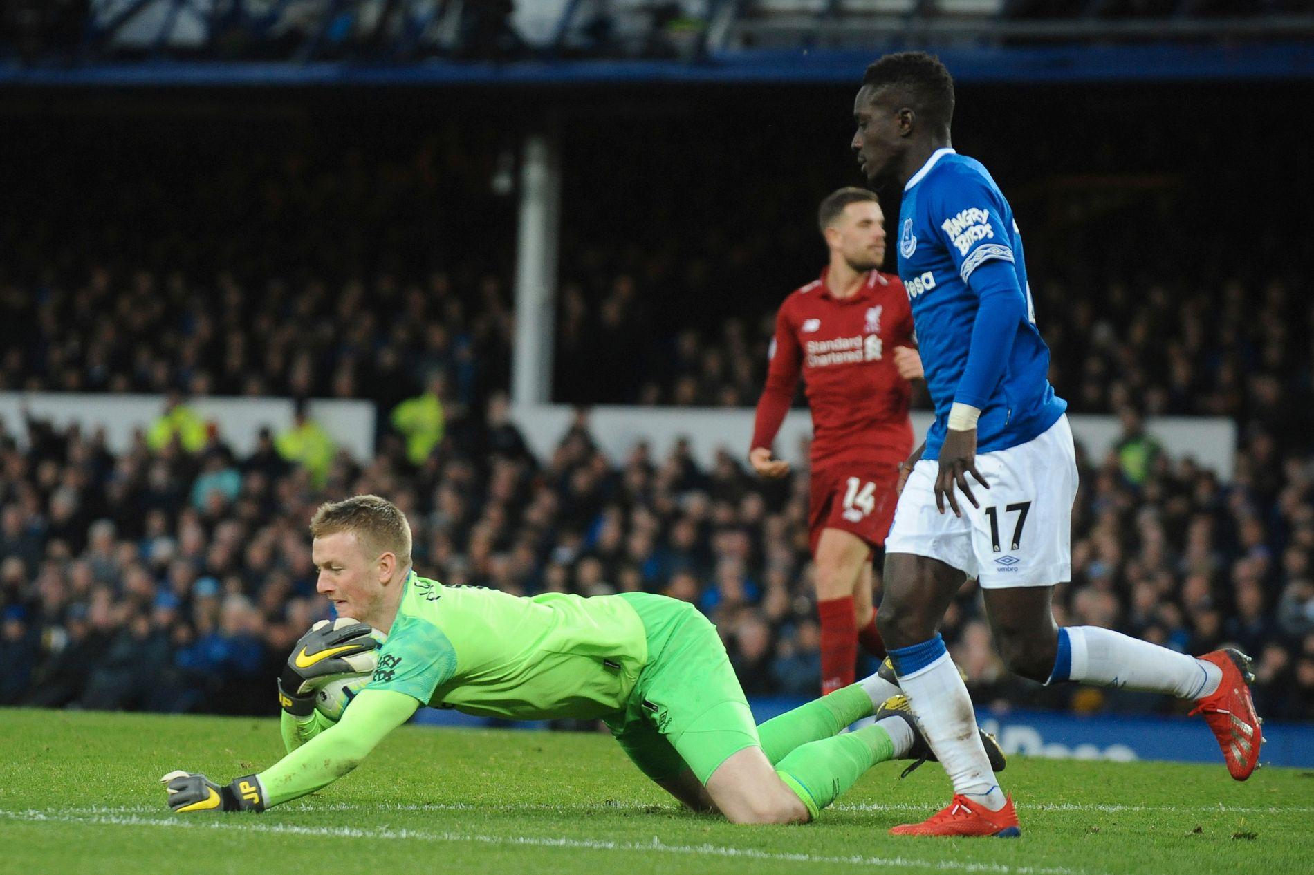 Jordan Pickford nektet Liverpool scoring på Goodison Park søndag.