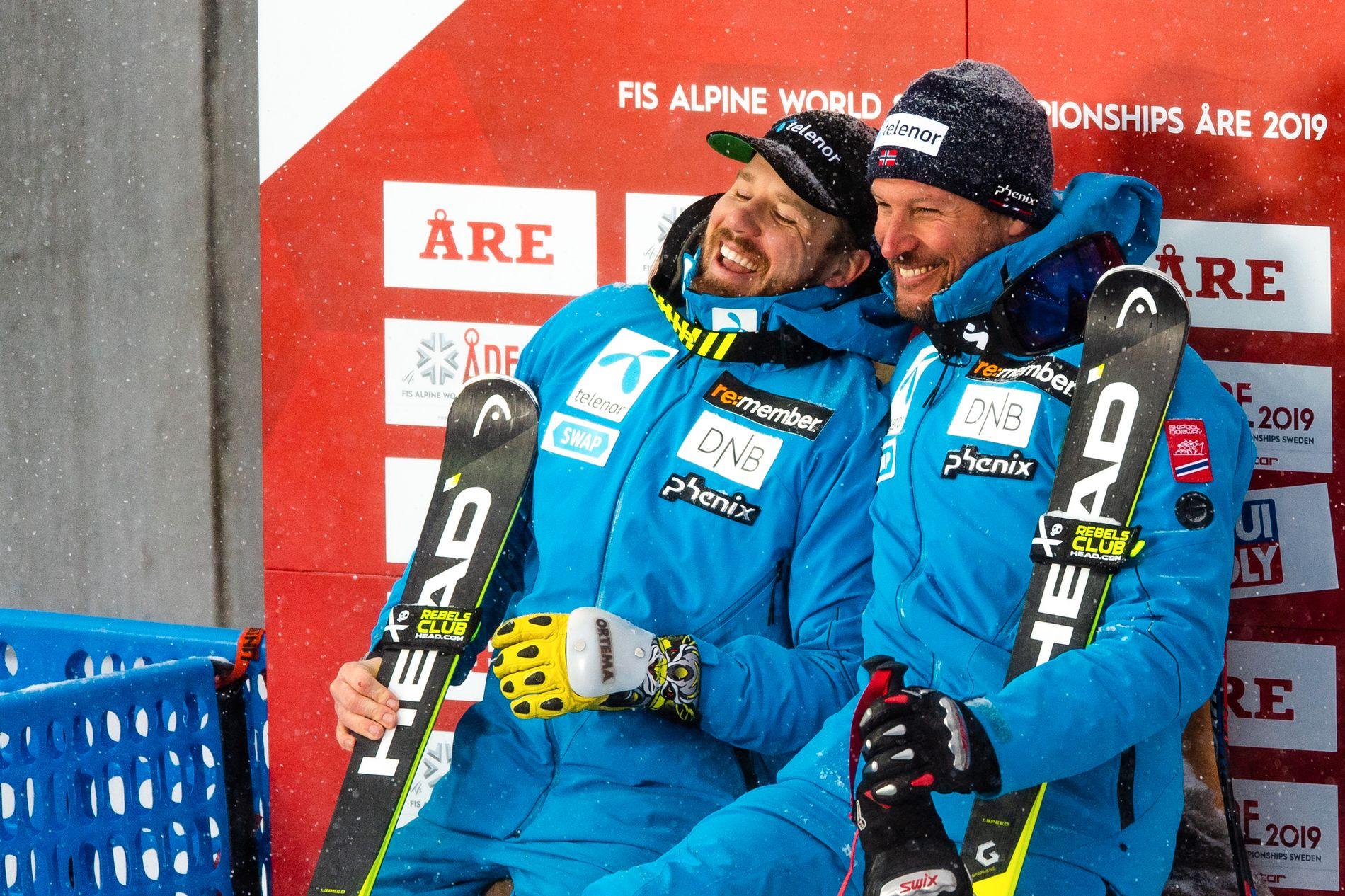 Kjetil Jansrud og Aksel Lund Svindal på seierspodiet i Åre.