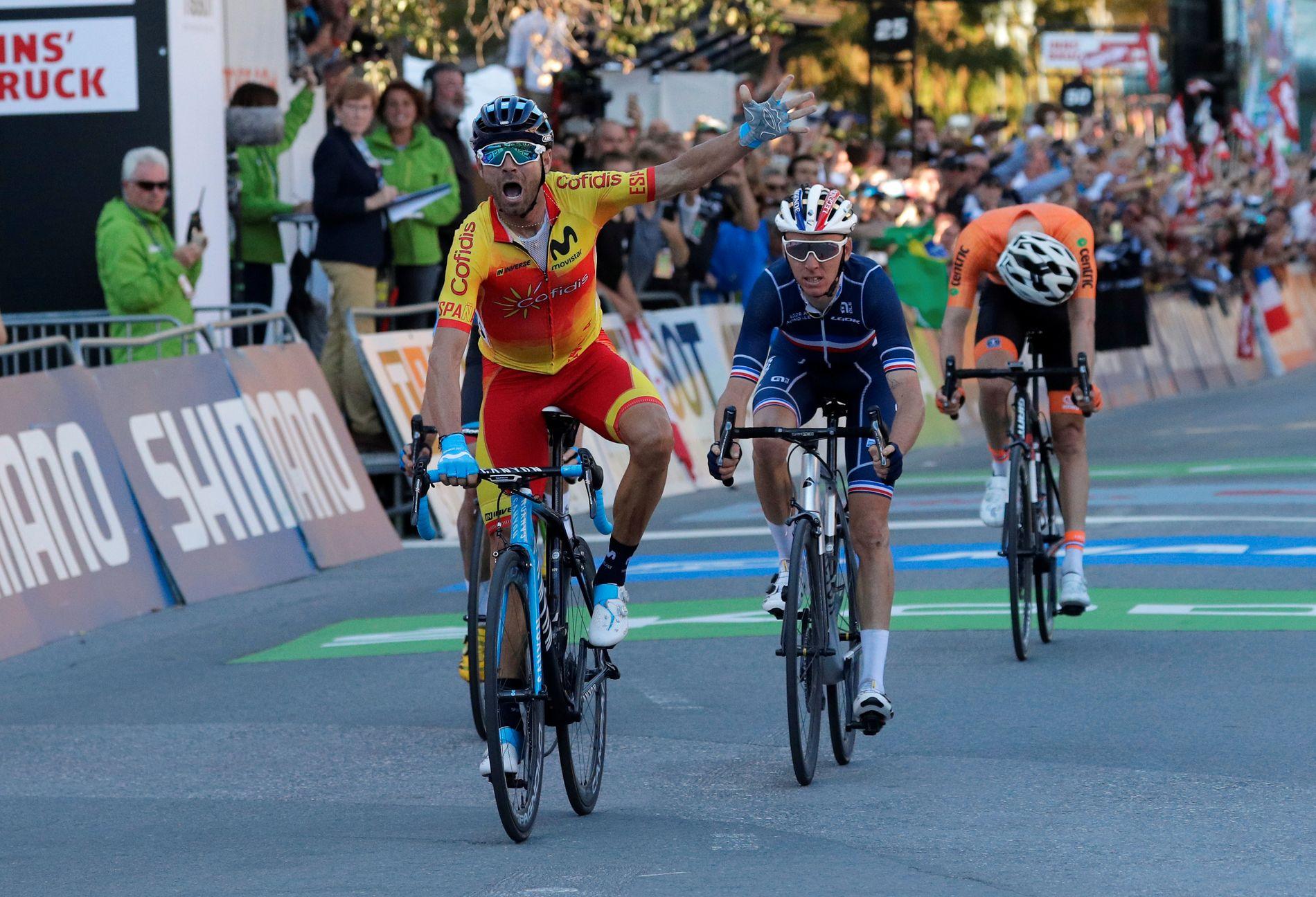 Alejandro Valverde tok VM-gull i Innsbruck.