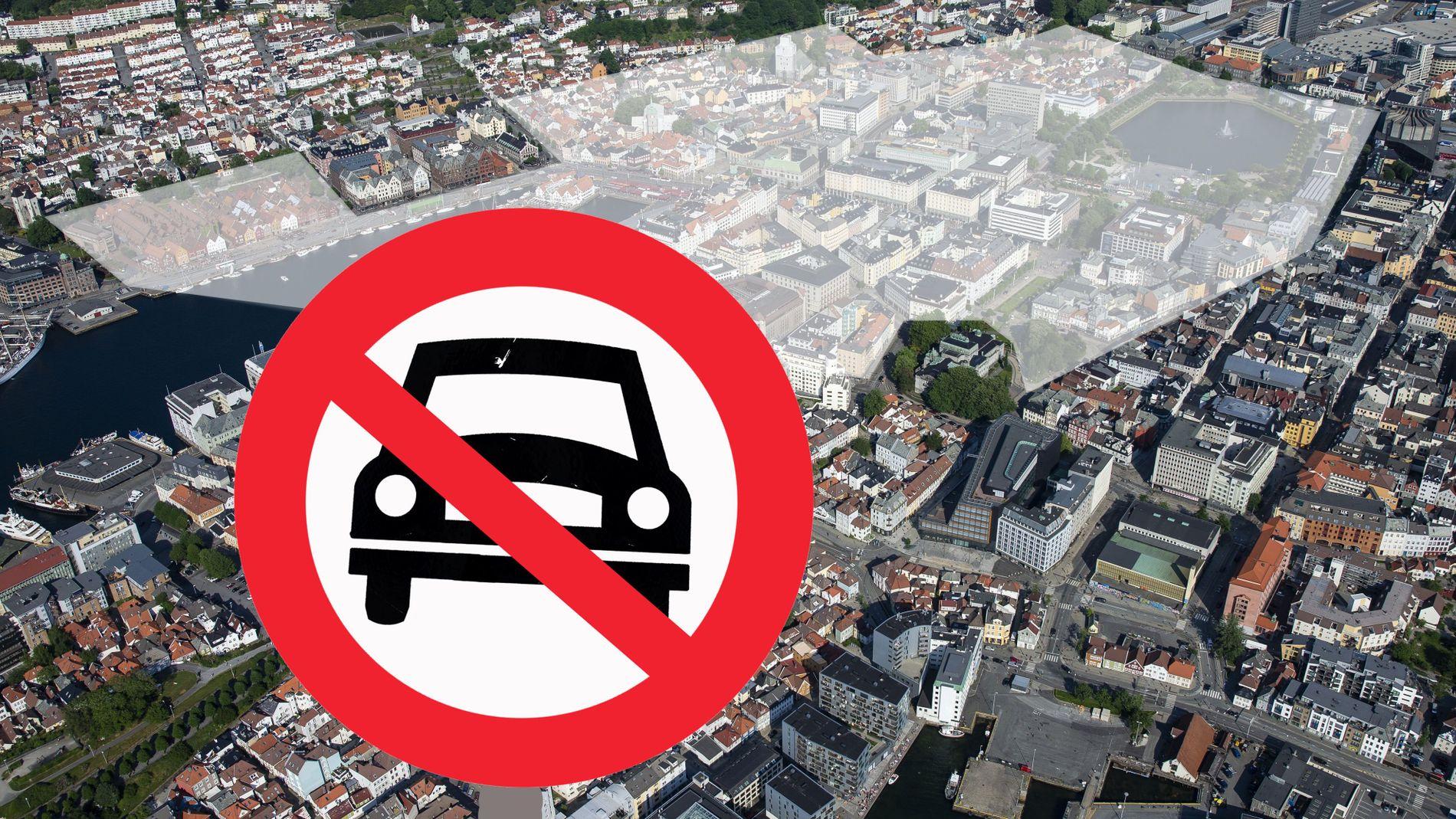 BORT MED BILER: Miljøpartiet de grønne (MDG) har foreslått å forby det meste av bilkjøringen mellom Bystasjonen og teateret, Vaskerelven og Bryggen. Innsenderen er inne på noen av de samme tankene.