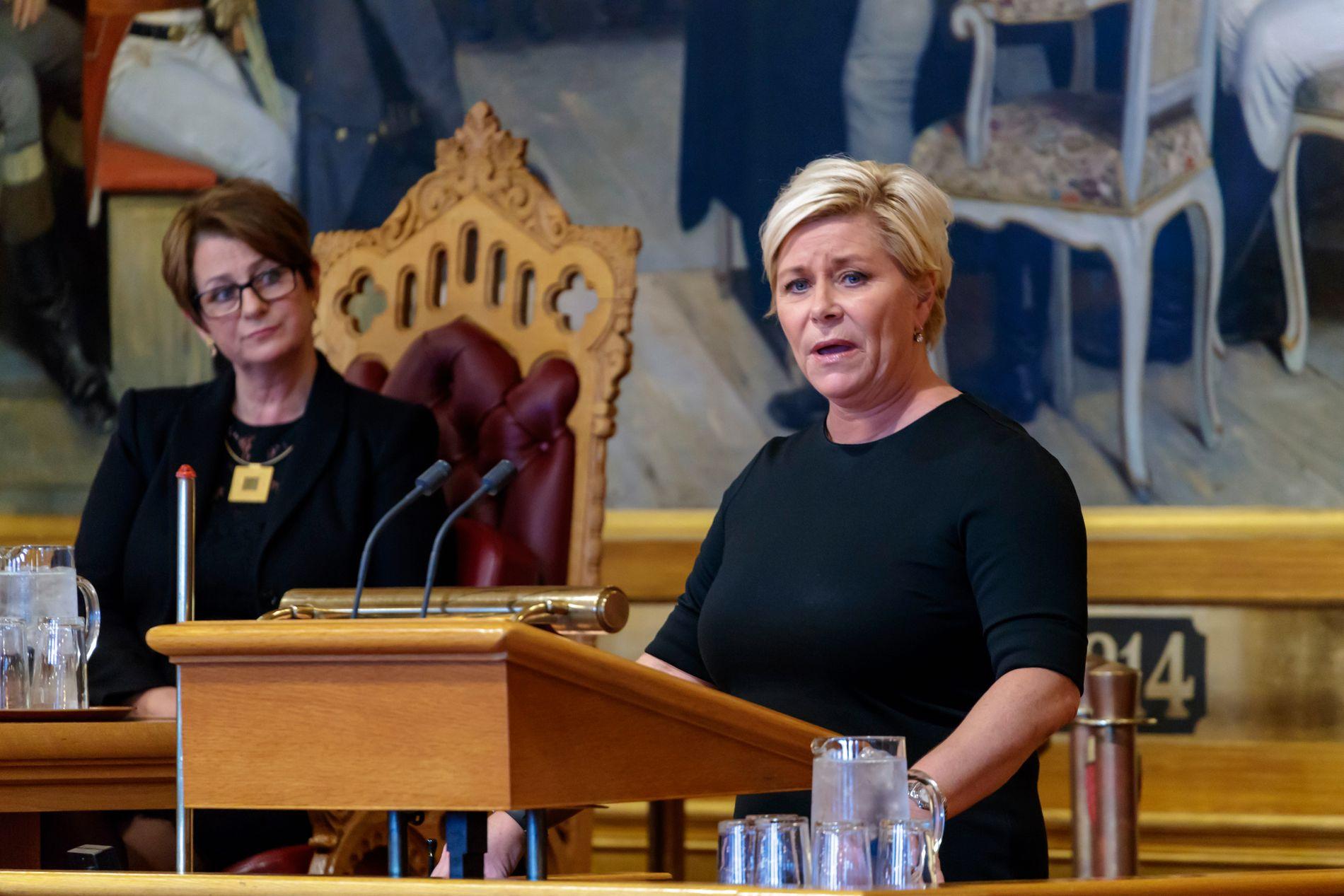 MYKJE PENGAR: Finansminister Siv Jensen (Frp) har hatt gode tider som finansminister, skriv BT-kommentator Hans K. Mjelva.