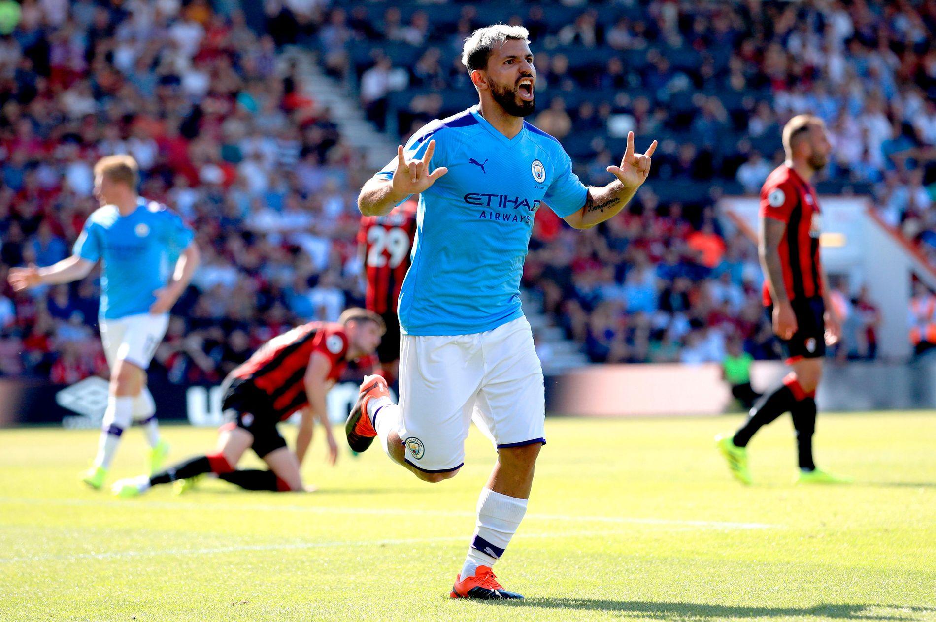 Manchester Citys Sergio Agüero er en målmaskin. Søndag scoret han to ganger mot Bournemouth.