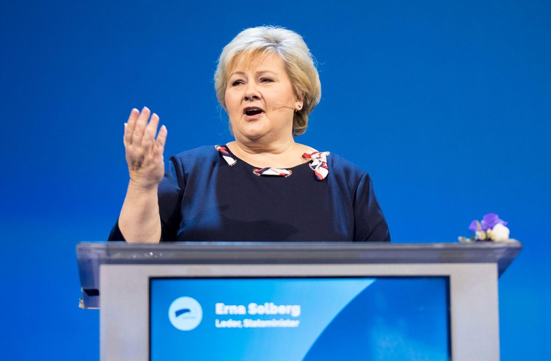 Erna Solberg deltar i helgen på Høyres landsmøte.