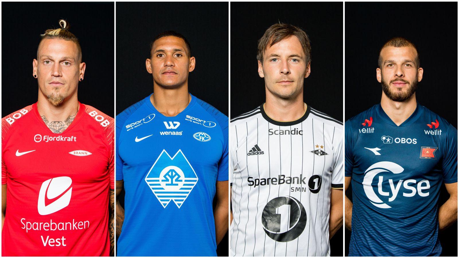 NYE DRAKTER: Brann, Molde, Rosenborg og Viking er blant eliteserielagene som starter 2019-sesongen med helt nye hjemmedrakter. Nå kårer ekspertene de fineste draktene denne sesongen.