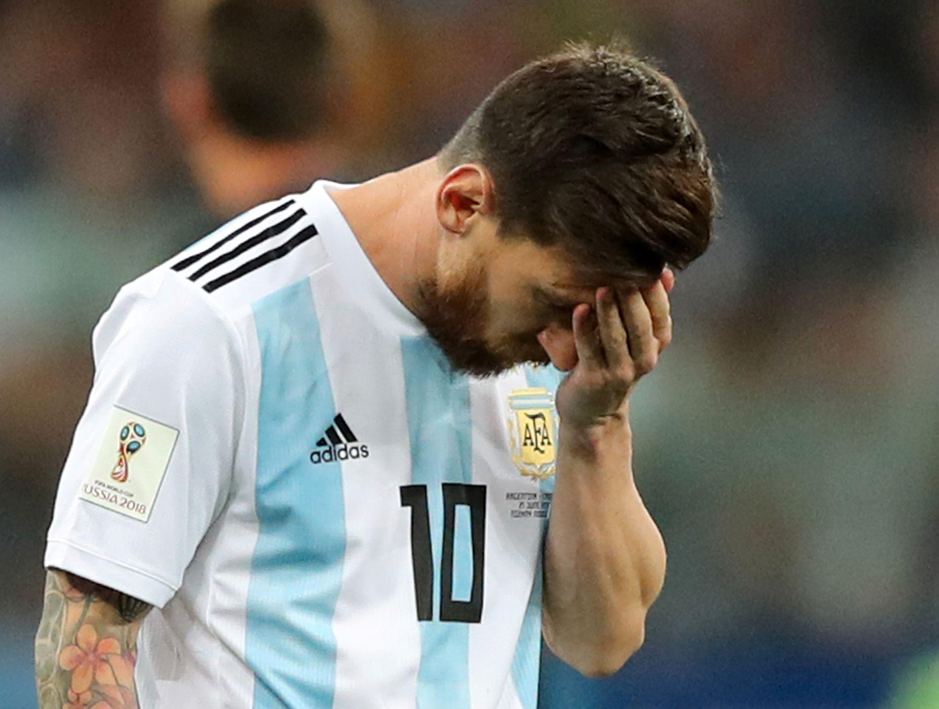 Lionel Messi slet tidvis i kampen mot Kroatia.